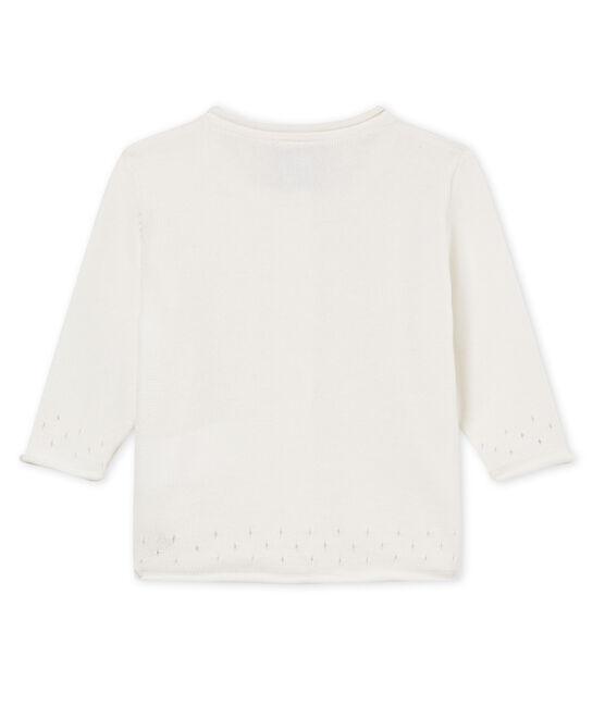 Cardigan bambina 100% cotone bianco Marshmallow
