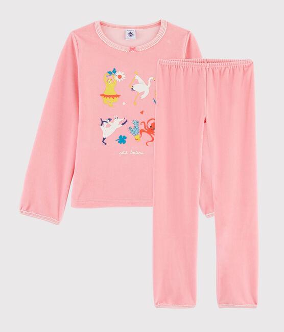 Pigiama rosa animali yoga bambina in ciniglia rosa Gretel