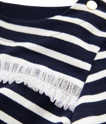 Marinière a manica lunga bambina blu Smoking / beige Coquille