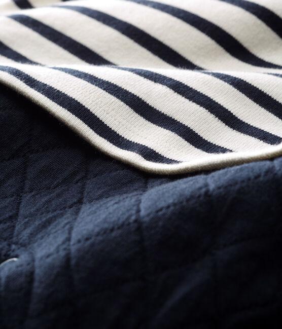 Tutina lunga da bebè maschio finto due pezzi bianco Marshmallow / blu Smoking