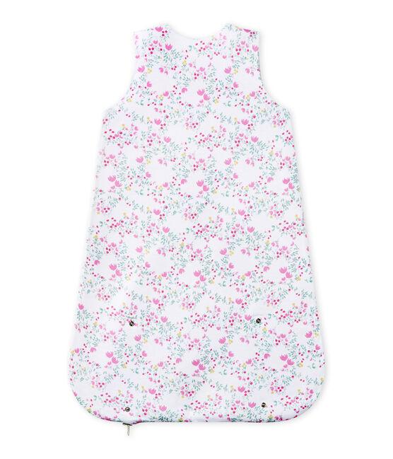 Sacco nanna bebè bambina reversibile bianco Ecume / bianco Multico