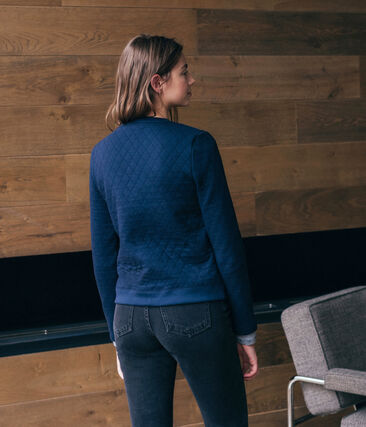 Cardigan in tubique donna blu Smoking