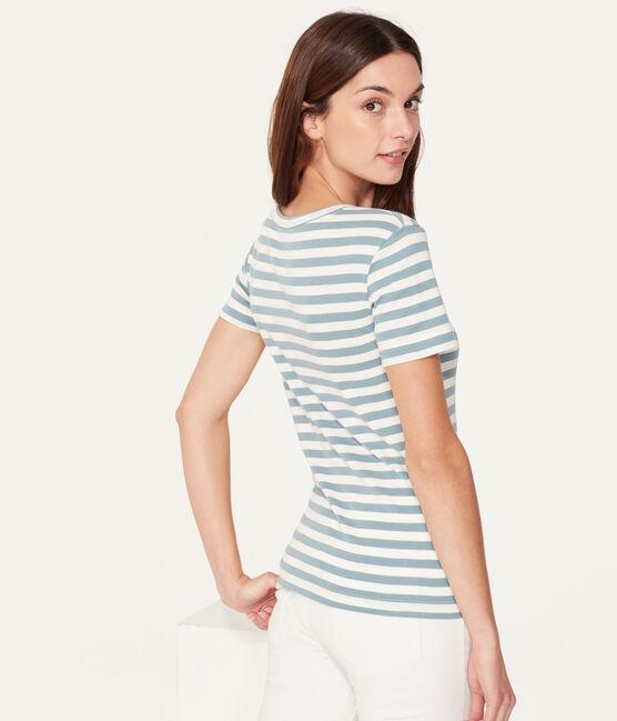 T-shirt maniche corte girocollo donna blu Fontaine / bianco Marshmallow