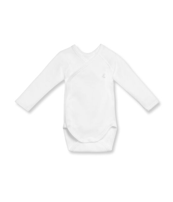 Body nascita maniche lunghe bebé unisex in cotone grattato bianco Ecume