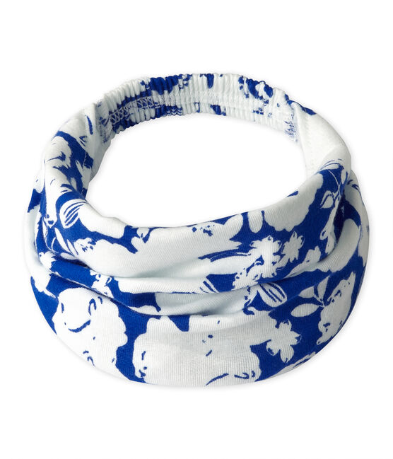 Fascia bambina stampata bianco Marshmallow / blu Perse