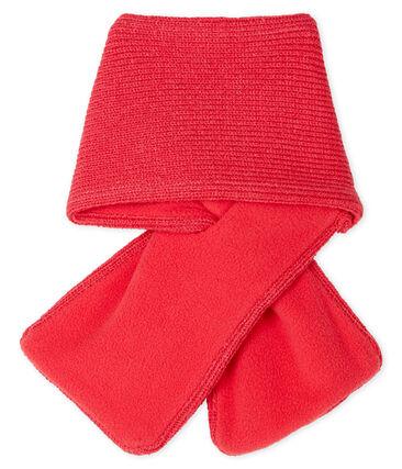 Sciarpa bebè femmina foderata in pile rosso Signal
