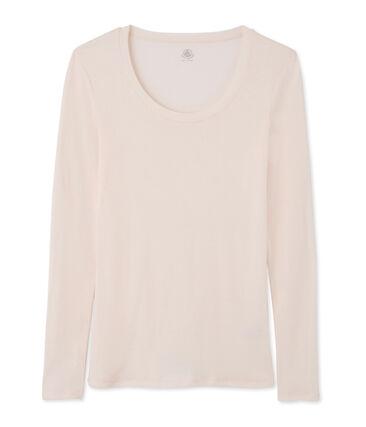 T-shirt a manica lunga con scollo rotondo donna rosa Fleur