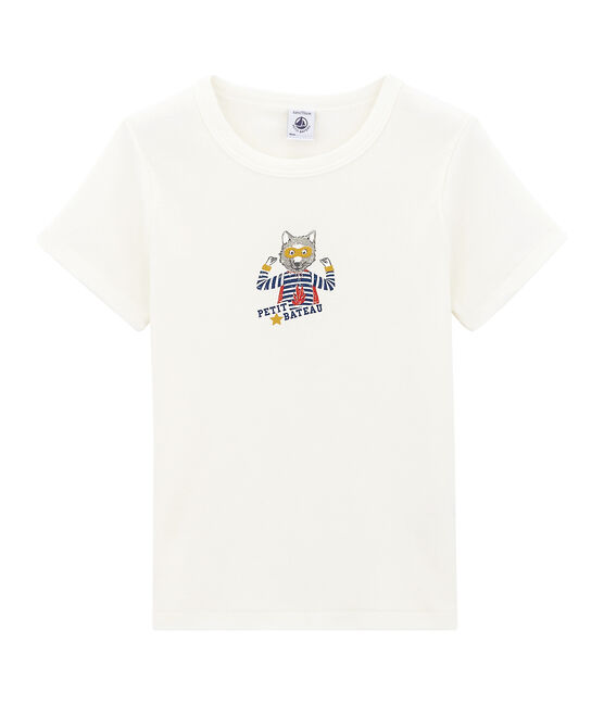 tee-shirta maniche corte bambino bianco Marshmallow