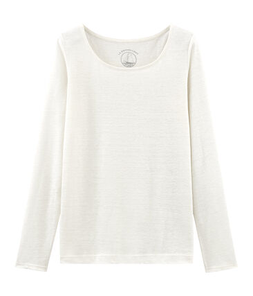 T-shirt maniche lunghe donna in lino bianco Marshmallow