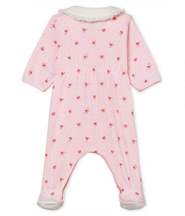 Tutina pigiama bebè femminuccia a costina 1x1 fantasia rosa Vienne / bianco Multico