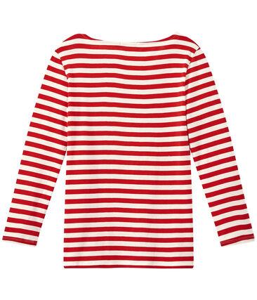 T-shirt donna maniche lunghe in costina originale 1x1 rosso Terkuit / bianco Marshmallow