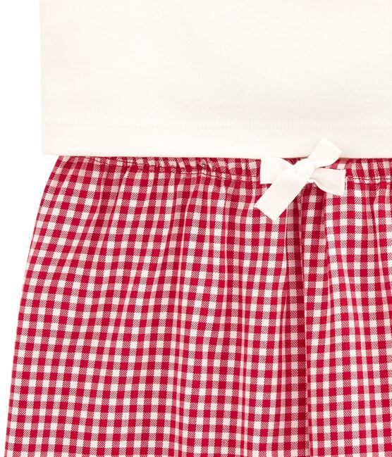 Pigiama per bambina doppio tessuto a quadri rosso Terkuit / bianco Marshmallow