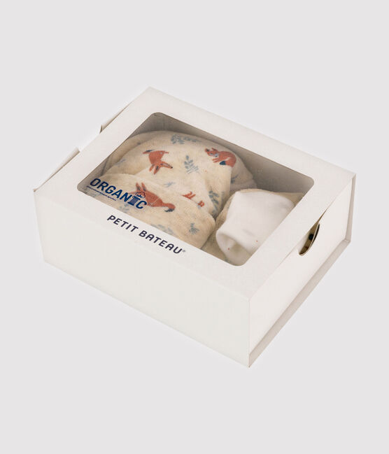 Confezione cappellino nascita e babbucce da neonato motivo volpe in velluto beige Montelimar / bianco Multico