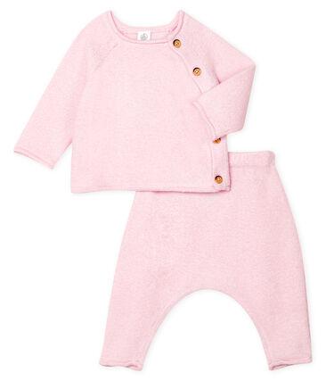 Completo due pezzi bebè in cotone, lana merino e poliestere rosa Fleur