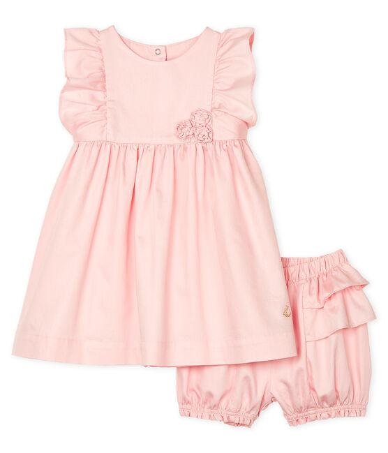 Abito e bloomer bebè femmina in raso rosa Minois