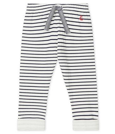 Pantalone bebè maschio in tubique fantasia bianco Marshmallow / blu Smoking