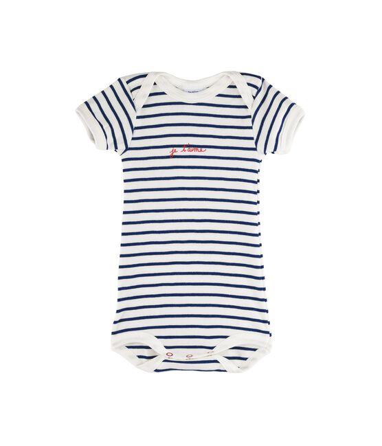 Body manica corta bebè femmina - maschio bianco Marshmallow / blu Medieval