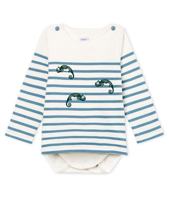 Body marinière bebè bambino bianco Marshmallow / blu Fontaine