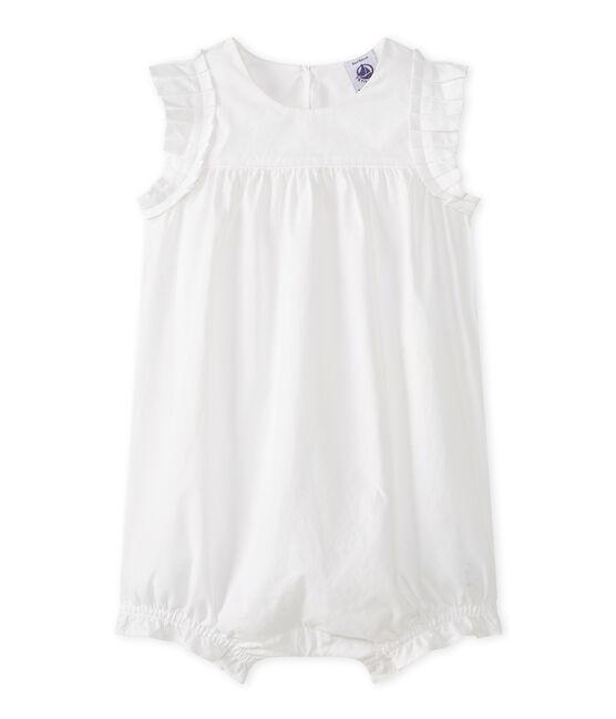 Tutina corta bebè femmina bianco Ecume