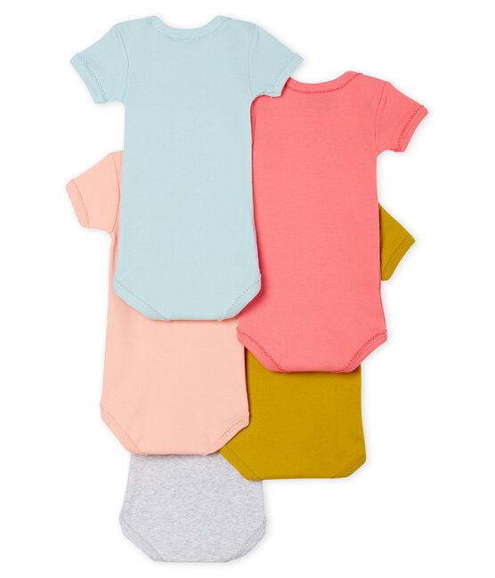 Confezione da 5 body manica corta bebè bambina lotto .