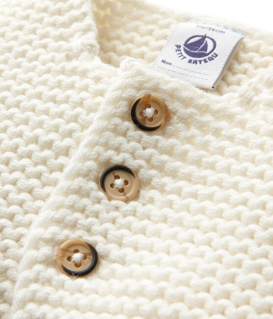 Cardigan per bebè in misto lana e cotone bianco Lait
