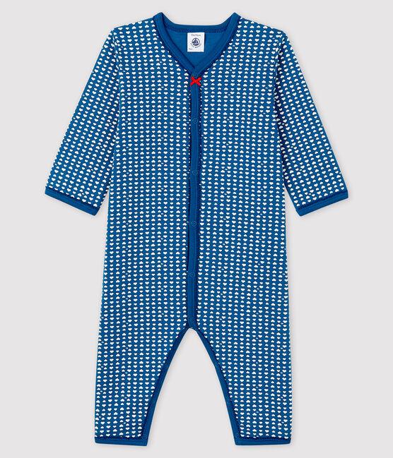 Tutina blu senza piedi bebè femmina in tubique blu Major / bianco Ecume