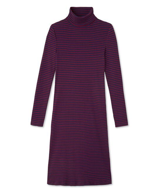 Vestito donna collo alto a righe in cotone ultra light rosso Clafouti / blu Medieval