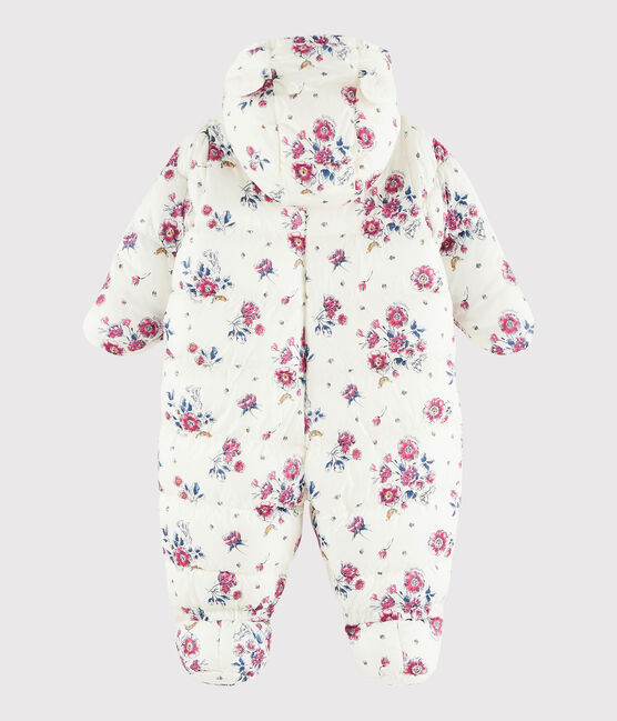 Tutina pilota bebè femmina/maschietto bianco Marshmallow / rosa Rose