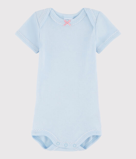 Body manica corta bebè femmina blu Fraicheur