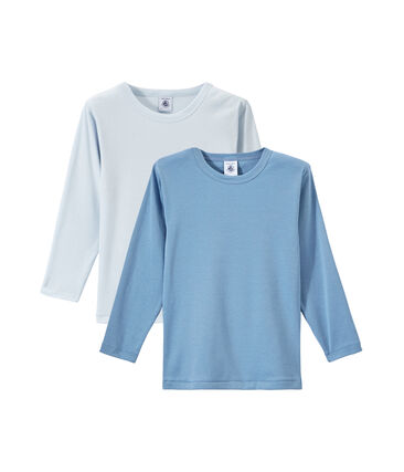 Lotto di 2 t-shirts per bambino a maniche lunghe tinta unita