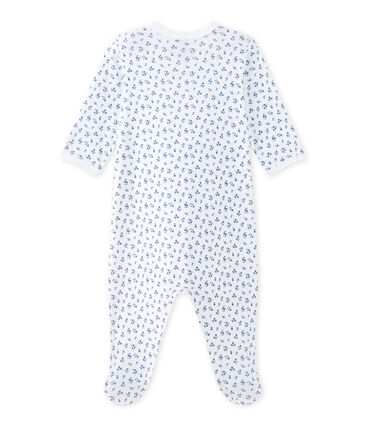 Tutina bebè bambina stampata bianco Ecume / blu Bleu