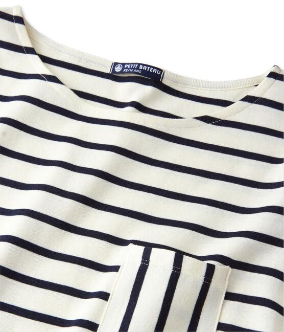 T-shirt femme manches longues en côte originale beige Coquille / blu Smoking