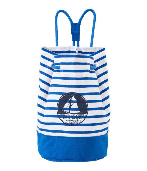 Borsa marinara bambino in jersey pesante bianco Marshmallow / blu Perse