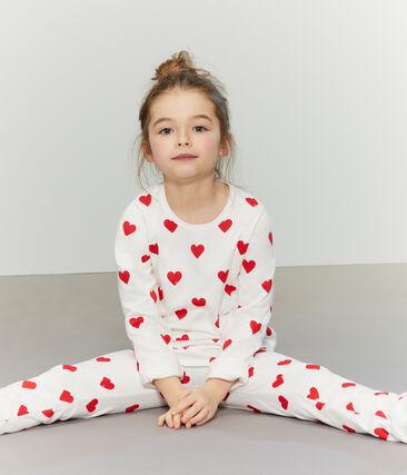 Pigiama bambina-bambino in molleton bianco Marshmallow / rosso Terkuit
