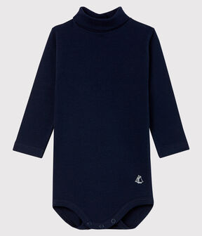 Body manica lunga e dolcevita bebè blu Smoking