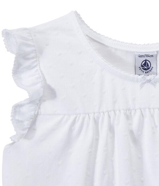 Pigiama corto bambina in cotone sottile bianco Ecume