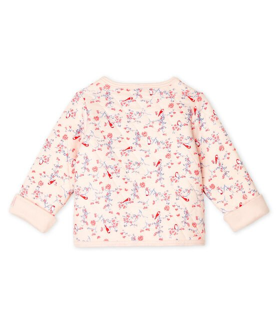 Cardigan bebè in tubique trapuntato rosa Fleur / bianco Multico