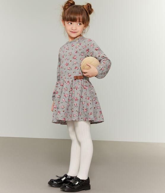 Abito stampato bambina grigio Beluga / bianco Multico