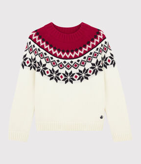Pullover in lana e cotone bambino bianco Marshmallow / bianco Multico