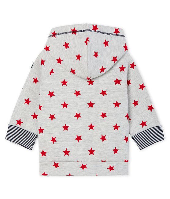 Felpa con cappuccio bebè maschio in maglia fantasia grigio Beluga / rosso Terkuit