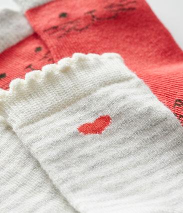 Set di 2 paia di calzini bebè bambina rosso Signal