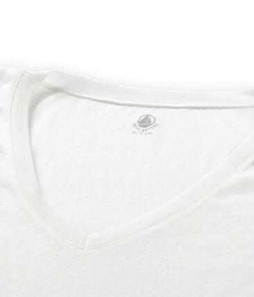 T-shirt maniche corte scollo a V donna bianco Ecume