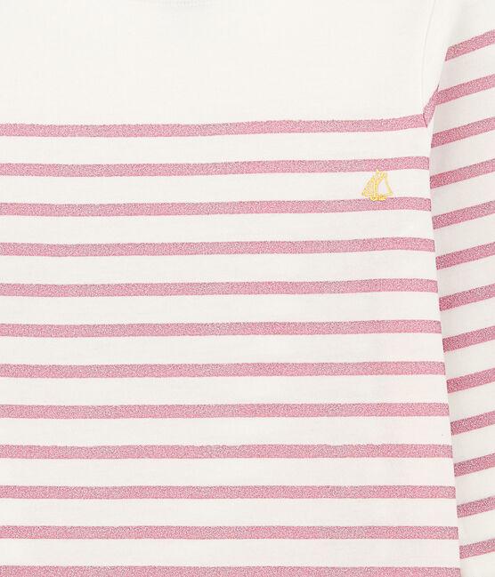 Tee-shirt per bambina bianco Marshmallow / rosa Babylone