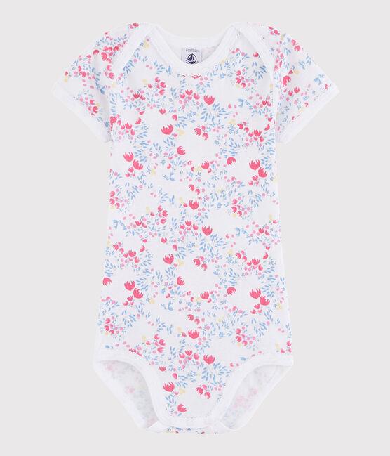 Body manica corta bebè femmina bianco Ecume / rosa Rose