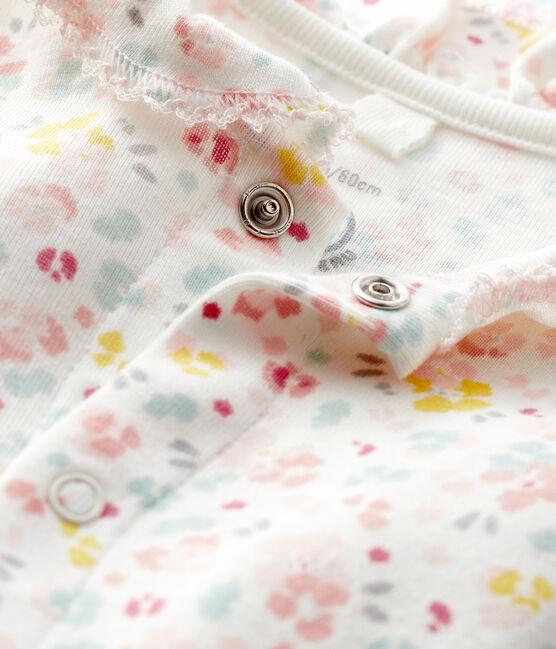 Body a fiori da neonata a costine bianco Marshmallow / bianco Multico