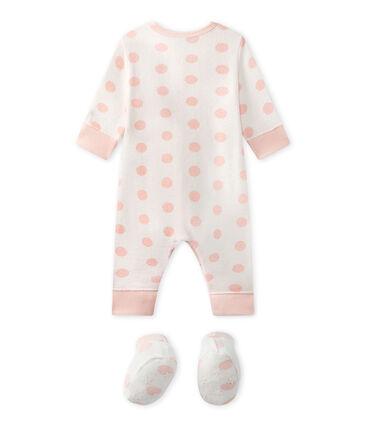 Tutina senza piedi bebè bambina in spugna bianco Lait / rosa Rose