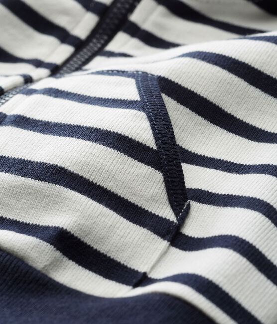 Felpa con cappuccio a righe marinare maschietto bianco Marshmallow / blu Smoking