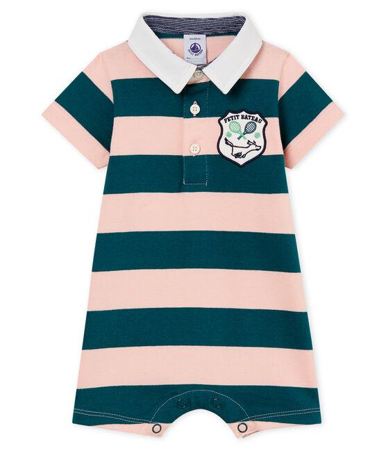 Tutina corta polo bebè maschio rigata verde Pinede / rosa Rosako