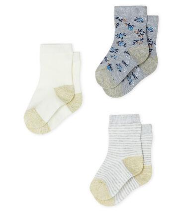 Confezione da 3 paia di calzini bebè femmina grigio Beluga