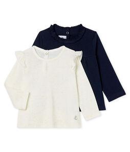 Confezione da 2 t-shirt a manica lunga bebè femmina